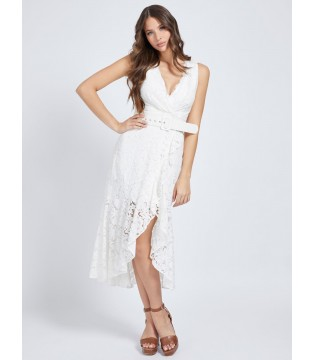 Сукня біла ажурна довга