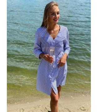 Сукня-сорочка біло-синя з поясом