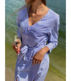 Сукня-сорочка біло-синя з поясом 1 - Respected-Person