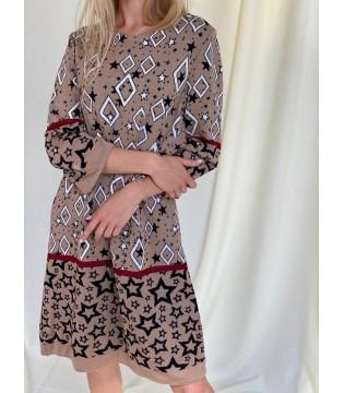 Сукня коричнева трикотажна в зірки