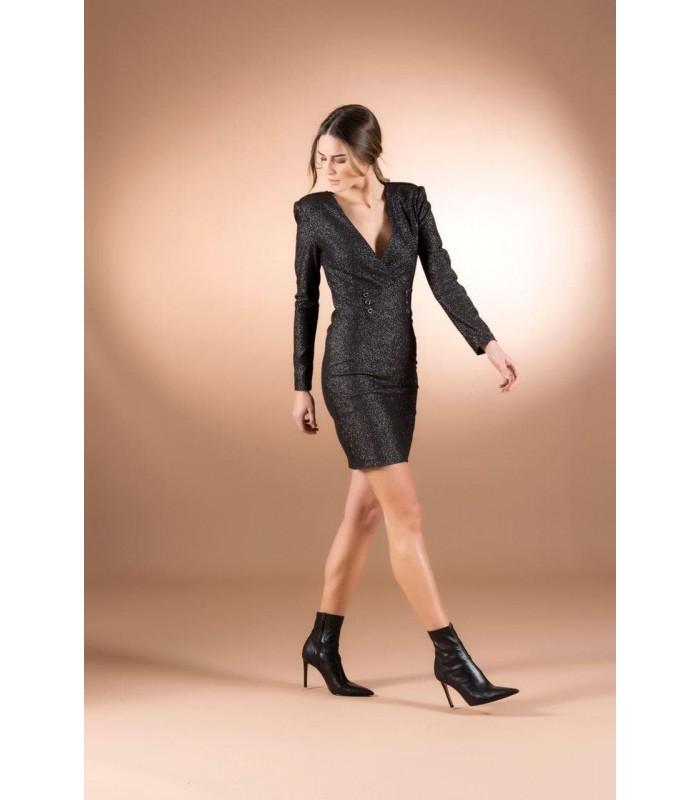 Сукня чорна коротка з люрексом
