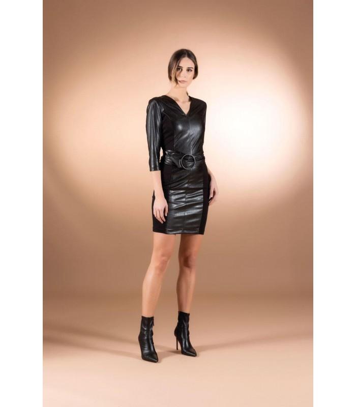 Сукня чорна з еко-шкіри коротка