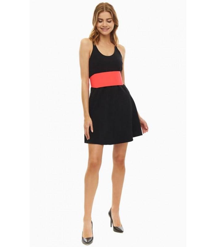 Сукня чорна з двостороннім контрастним поясом
