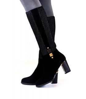 Чоботи чорні замшеві стрейчеві на каблуку 1 - Respected-Person