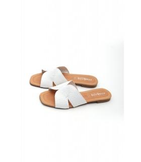 Шльопанці білі шкіряні з соломкою - Respected-Person