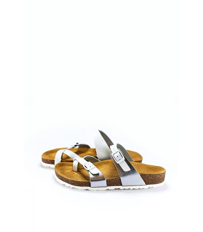 Біркенштоки-в`єтнамки біло-сірі шкіряні на корковій підошві