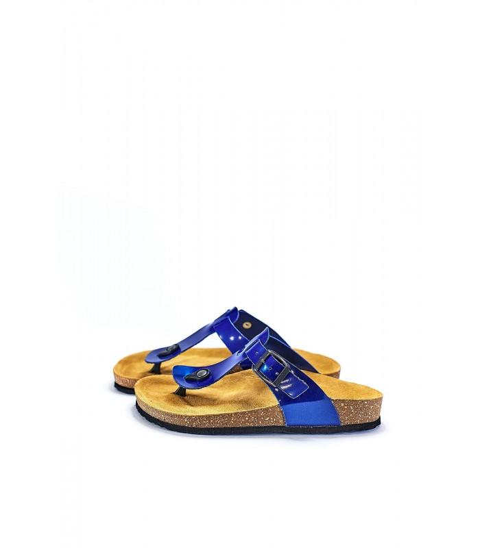 Біркенштоки сині шкіряні з пряжкою на корковій підошві