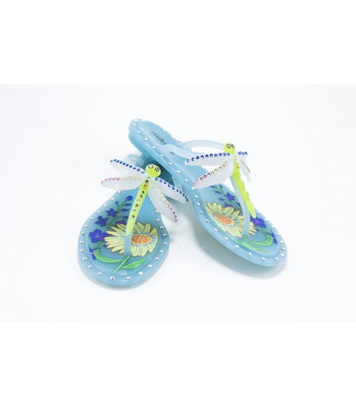 Шльопанці-в'єтнамки блакитні із стрекозою силіконові