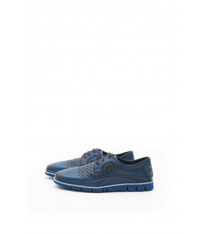 Туфлі сині чоловічі з натуральної м'якої шкіри на шнурівці
