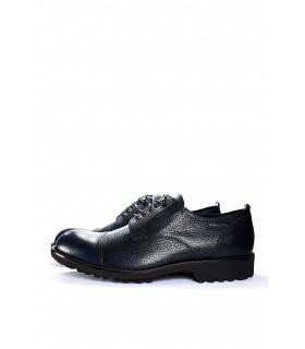Туфлі сині з натуральної фактурної шкіри на тракторній підошві - Respected-Person