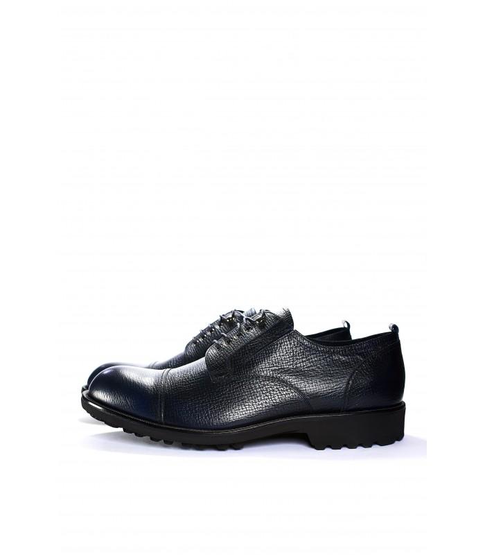 Туфлі сині з натуральної фактурної шкіри на тракторній підошві