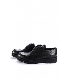 Туфлі чорні з натуральної шкіри під крокодила - Respected-Person