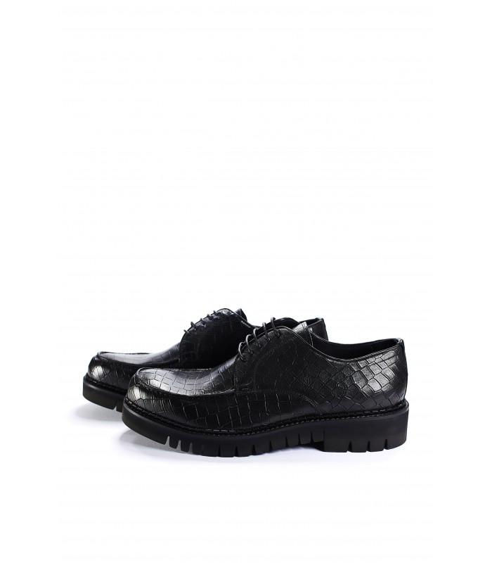 Туфлі чорні з натуральної шкіри під крокодила