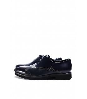 Туфлі сині з фактурної та глянцевої шкіри на шнурівці - Respected-Person