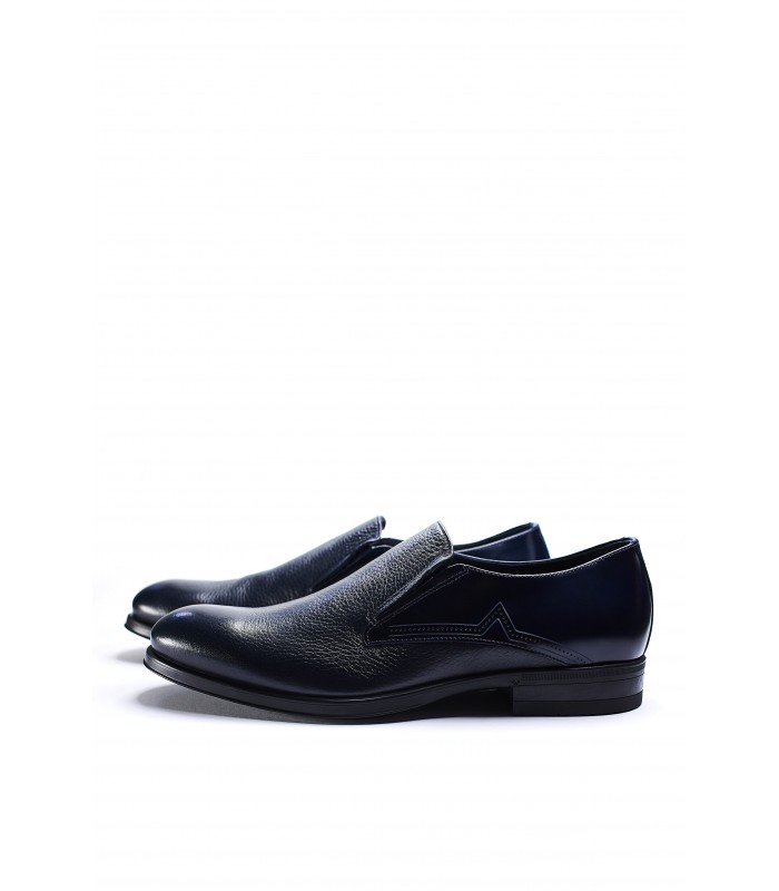 Туфлі сині з натуральної шкіри на резинках