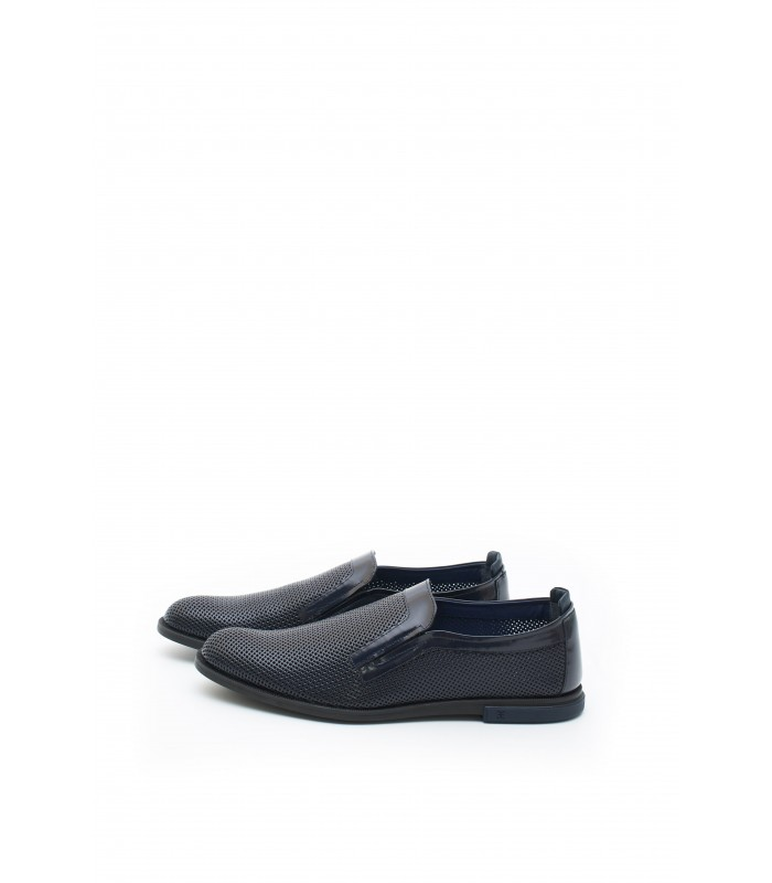 Туфлі сині чоловічі з натуральної шкіри з перфорацією
