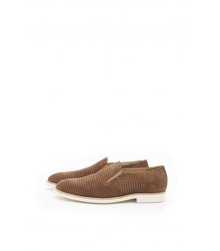 Туфлі коричневі чоловічі з натуральної замши на світлій підошві