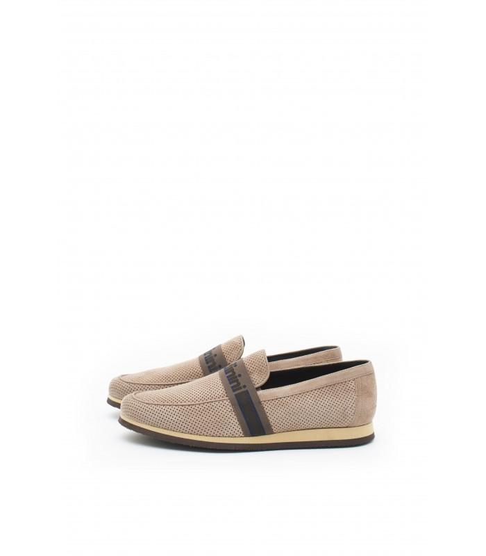 Туфлі-лофери чоловічі бежеві замшеві з перфорацією