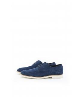 Туфлі сині чоловічі з натуральної замши на світлій підошві  - Respected-Person