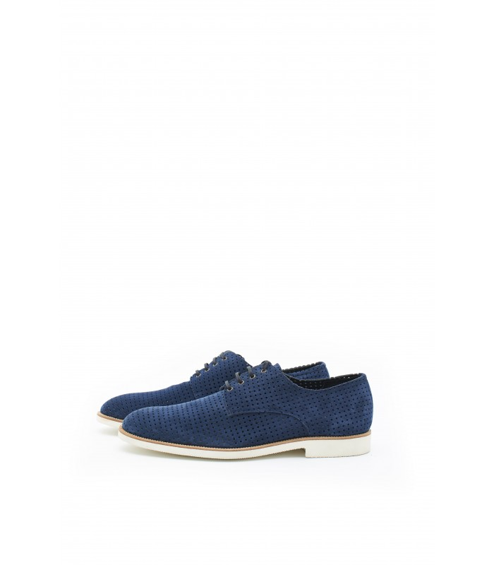 Туфлі сині чоловічі з натуральної замши на світлій підошві