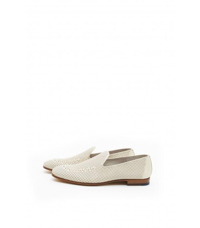 Туфлі бежеві шкіряні з кольоровою устілкою