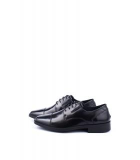 Туфлі чорні з глянцевої натуральної шкіри на шнурівці - Respected-Person