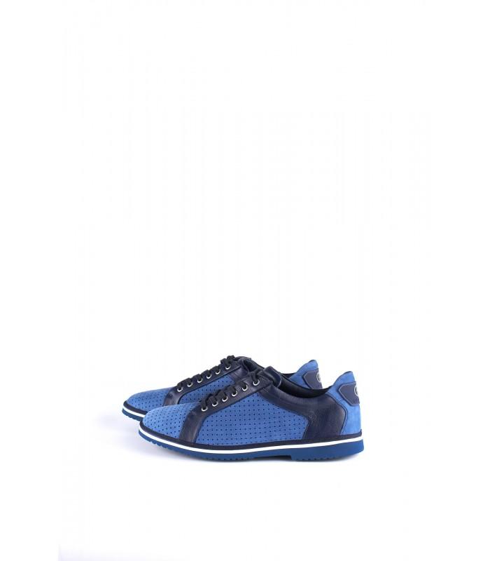Туфлі сині чоловічі з натуральної шкіри та нубука