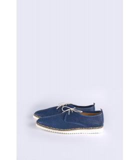 Туфлі сині чоловічі з перфорацією на бежевій підошві - Respected-Person