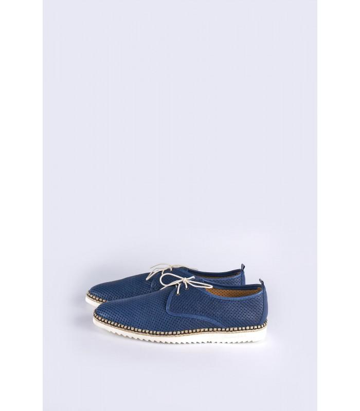 Туфлі сині чоловічі з перфорацією на бежевій підошві