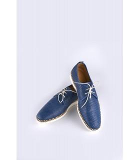 Туфлі сині чоловічі з перфорацією на бежевій підошві 1 - Respected-Person