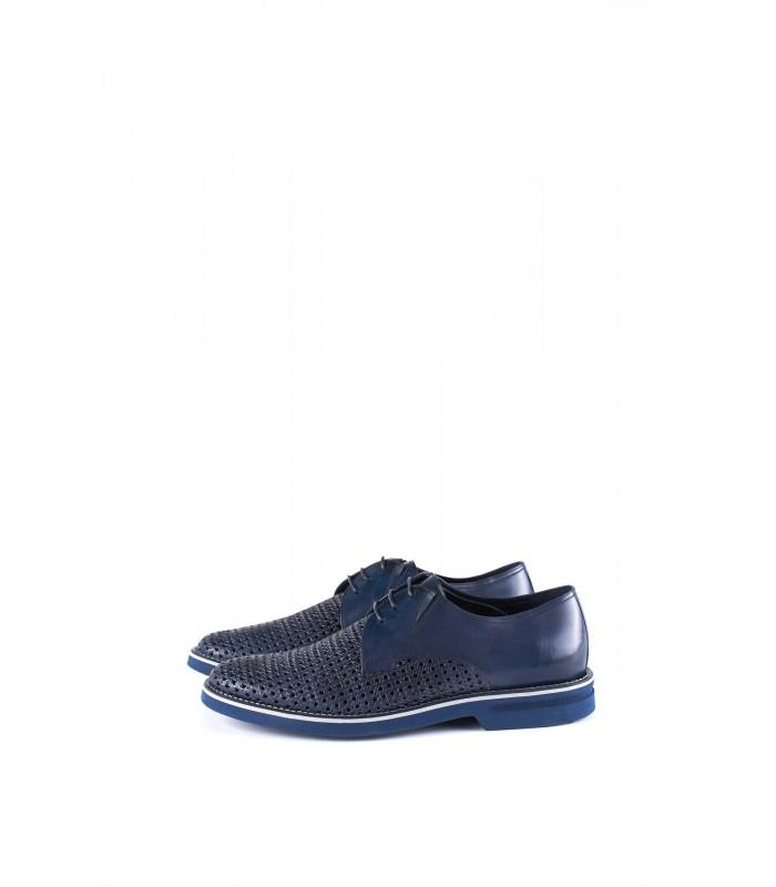 Туфлі сині з комбінованої шкіри на шнурівці