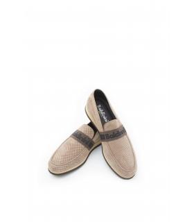 Туфлі-лофери чоловічі бежеві замшеві з перфорацією 1 - Respected-Person