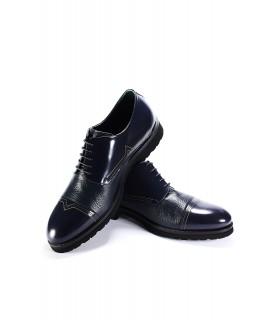 Туфлі сині з фактурної та глянцевої шкіри на шнурівці 1 - Respected-Person