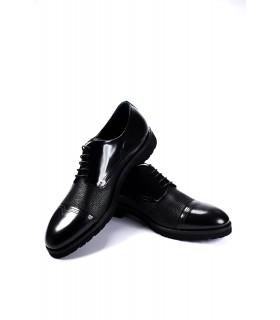 Туфлі чорні з фактурної та глянцевої шкіри на шнурівці 1 - Respected-Person