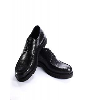 Туфлі чорні з натуральної шкіри під крокодила 1 - Respected-Person