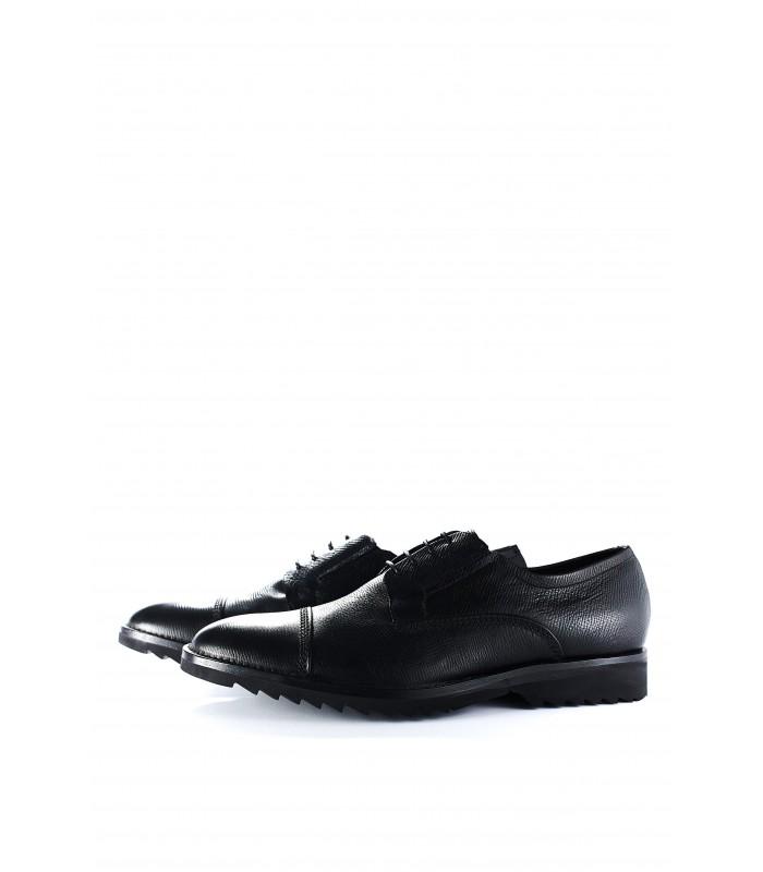 Туфлі-броги чорні з фактурної шкіри
