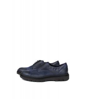Туфлі сині з вінтажної шкіри на тракторній підошві - Respected-Person