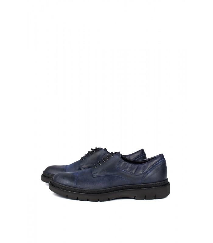 Туфлі сині з вінтажної шкіри на тракторній підошві