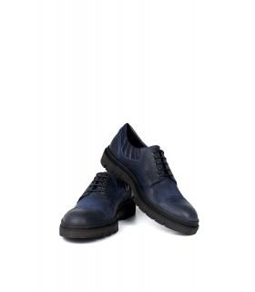 Туфлі сині з вінтажної шкіри на тракторній підошві 1 - Respected-Person