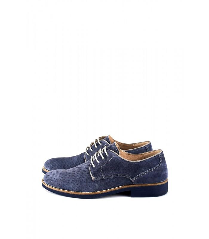 Туфлі з деніму замшеві з перфорацією на шнурівці