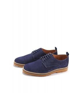 Туфлі чоловічі сині з натуральної замші на шнурівці - Respected-Person