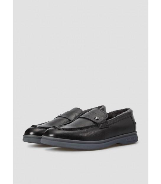 Туфлі чорні чоловічі на хутрі - Respected-Person