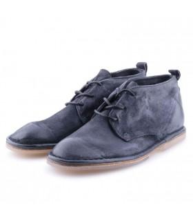 Черевики сині з вінтажної шкіри на шнурівці - Respected-Person