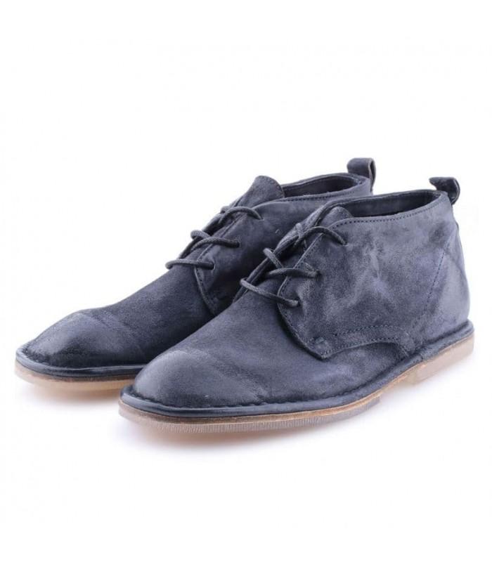 Черевики сині з вінтажної шкіри на шнурівці