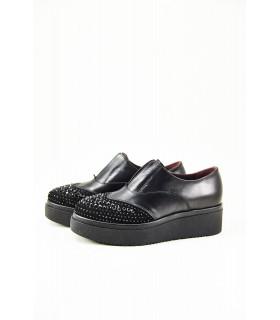 Туфлі-сліпони чорні з відрізним носком в каміння на високій підошві - Respected-Person