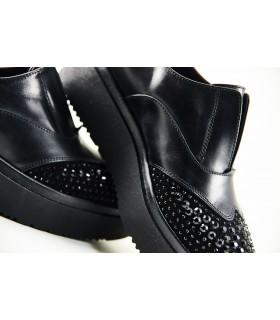 Туфлі-сліпони чорні з відрізним носком в каміння на високій підошві 1 - Respected-Person