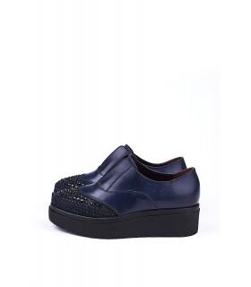 Туфлі-сліпони сині з відрізним носком в каміння на високій підошві - Respected-Person