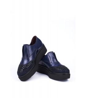 Туфлі-сліпони сині з відрізним носком в каміння на високій підошві 1 - Respected-Person