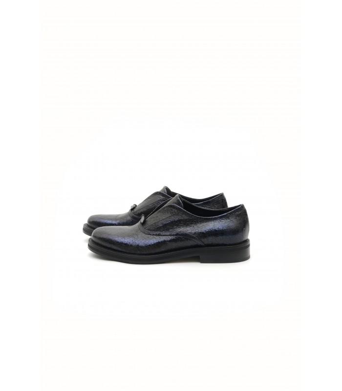 Туфлі сині з вінтажної шкіри на низькому ходу