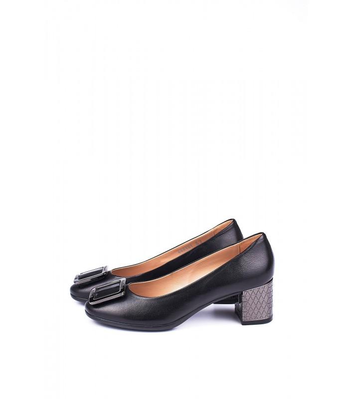 Туфлі з гладкої шкіри з фактурним каблуком
